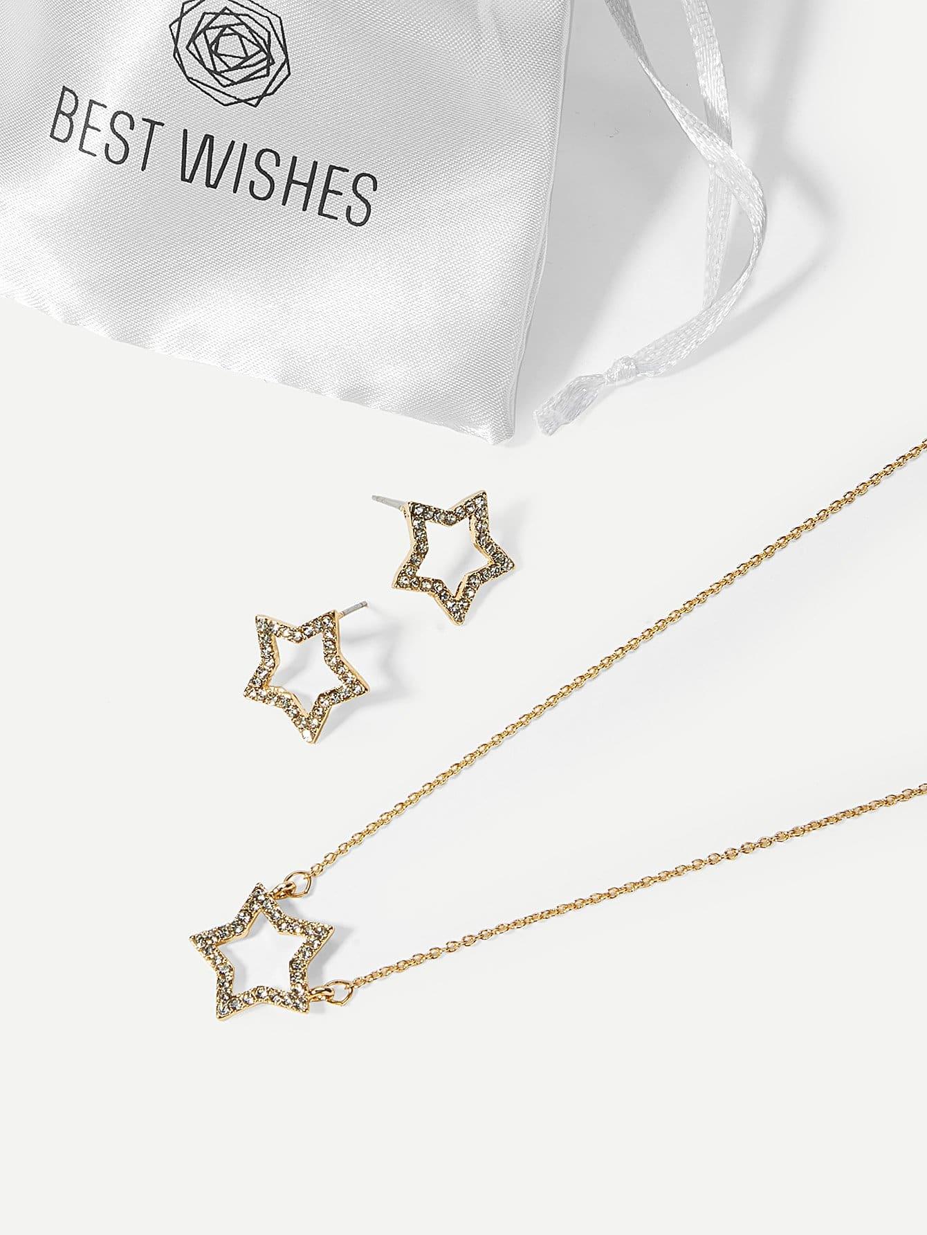 Rhinestone Star Pendant Necklace & Stud Earrings