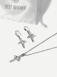 Cross Rhinestone Necklace & Drop Earrings