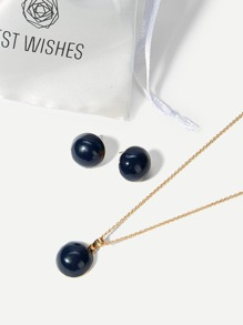 Ball Pendant Necklace & Stud Earrings