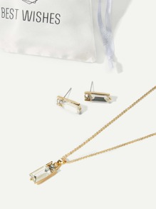 Crystal Bar Necklace & Stud Earrings