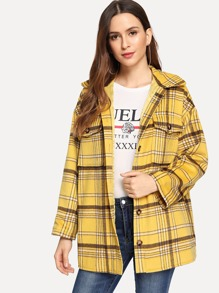 Button Front Collar Neck Plaid Jacket