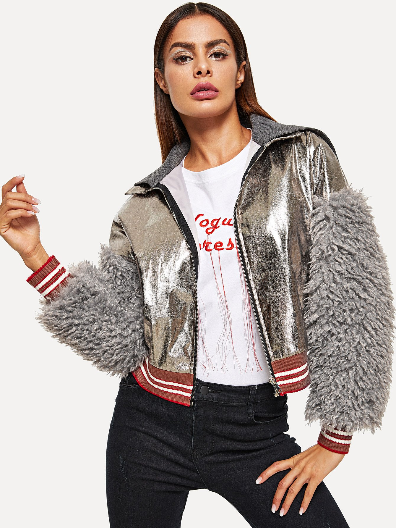 Faux Shearling Sleeve Metallic Jacket Faux Shearling Sleeve Metallic Jacket