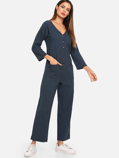 3dd678d091 Button Front V Neck Jumpsuit