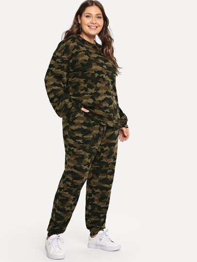 Plus Camo Print Top & Sweatpants Set