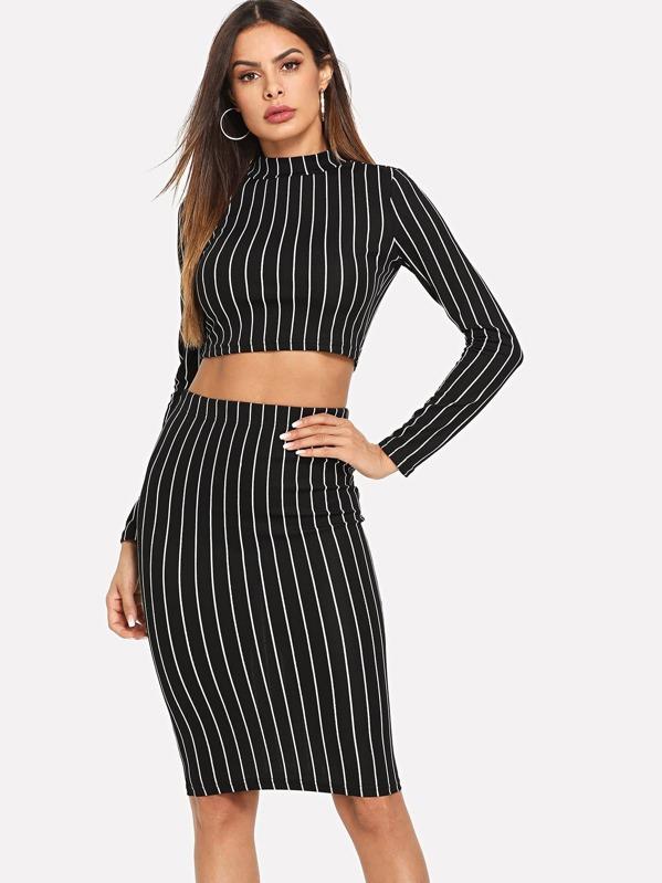 77a27774214ea7 Crop Grid Top   Pencil Skirt Co-Ord