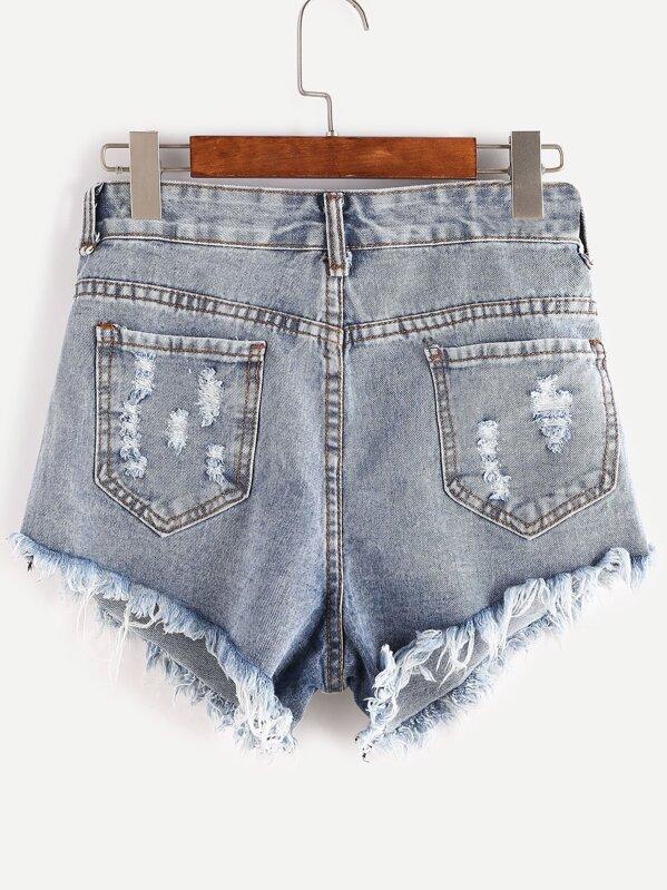 d2dbbb05c26cf Shorts en jean déchiré ourlet bruts -bleu | SHEIN