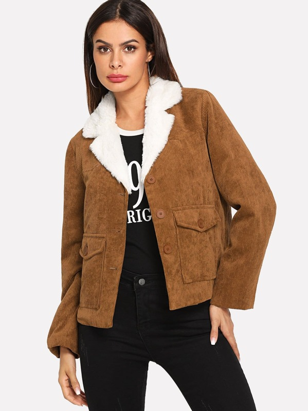 fbef56705c Button & Pocket Front Faux Fur Contrast Corduroy Coat | SHEIN