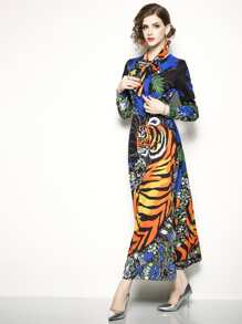 Tiger Pattern Tie Neck Longline Dress