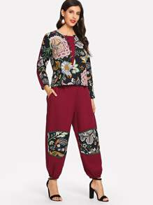 Floral Contrast Top & Carrot Pants