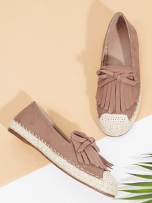 Fringe Top Espadrille Slip On Flats