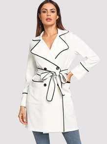 Contrast Binding Pocket Front Trench Coat