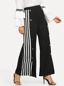 Striped Side Snap Button Front Palazzo Pants
