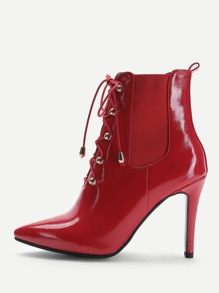 Lace Up Front Patent Leather Ankle Boots