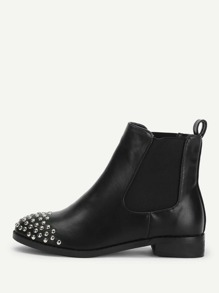 Rivet Detail PU Ankle Boots