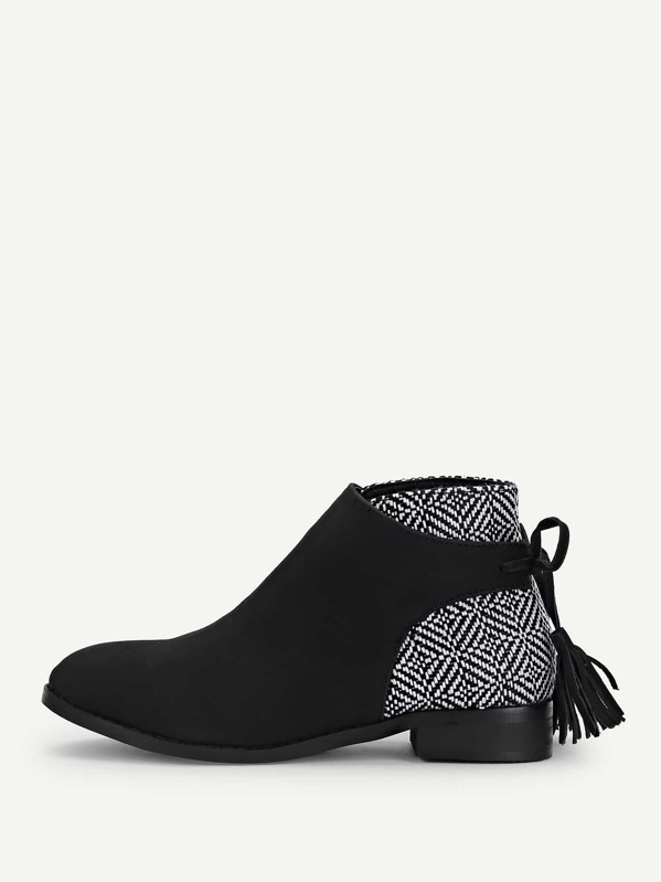 714f3c38fb87 Tassel Tie Back Ankle Boots