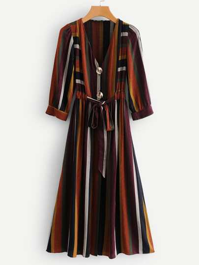 Multi-Stripe Drawstring Waist Button Midi Dress