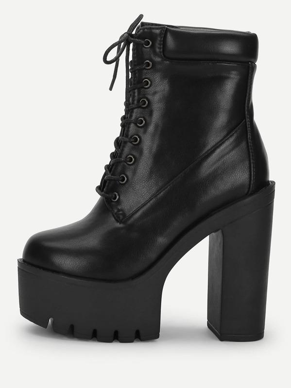 9724b5f7fc Lace-Up Platform Boots | SHEIN UK