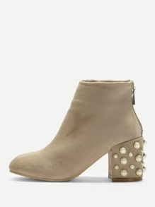 Faux Pearl Decorated Ankle Boots