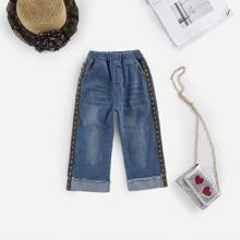 Toddler Girls Contrast Tape Side Raw Hem Jeans