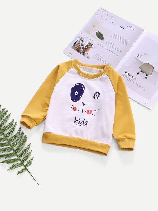 030150f1d7 Toddler Boys Contrast Raglan Sleeve Cartoon Print Sweatshirt