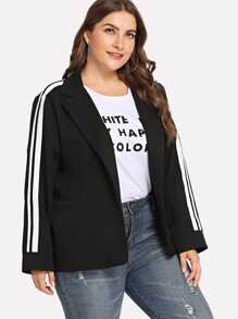 Plus Striped Panel Sleeve Blazer