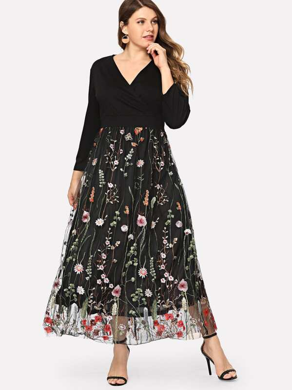 d4cc57f5b2 Plus Floral Embroidered Mesh Panel Dress | SHEIN UK
