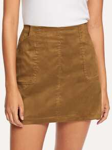 Suede Dual Pocket Skirt