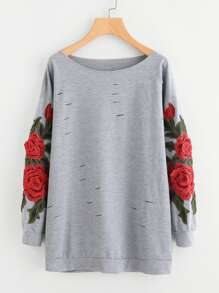 Plus Rose Patched Sleeve Sweatshirt
