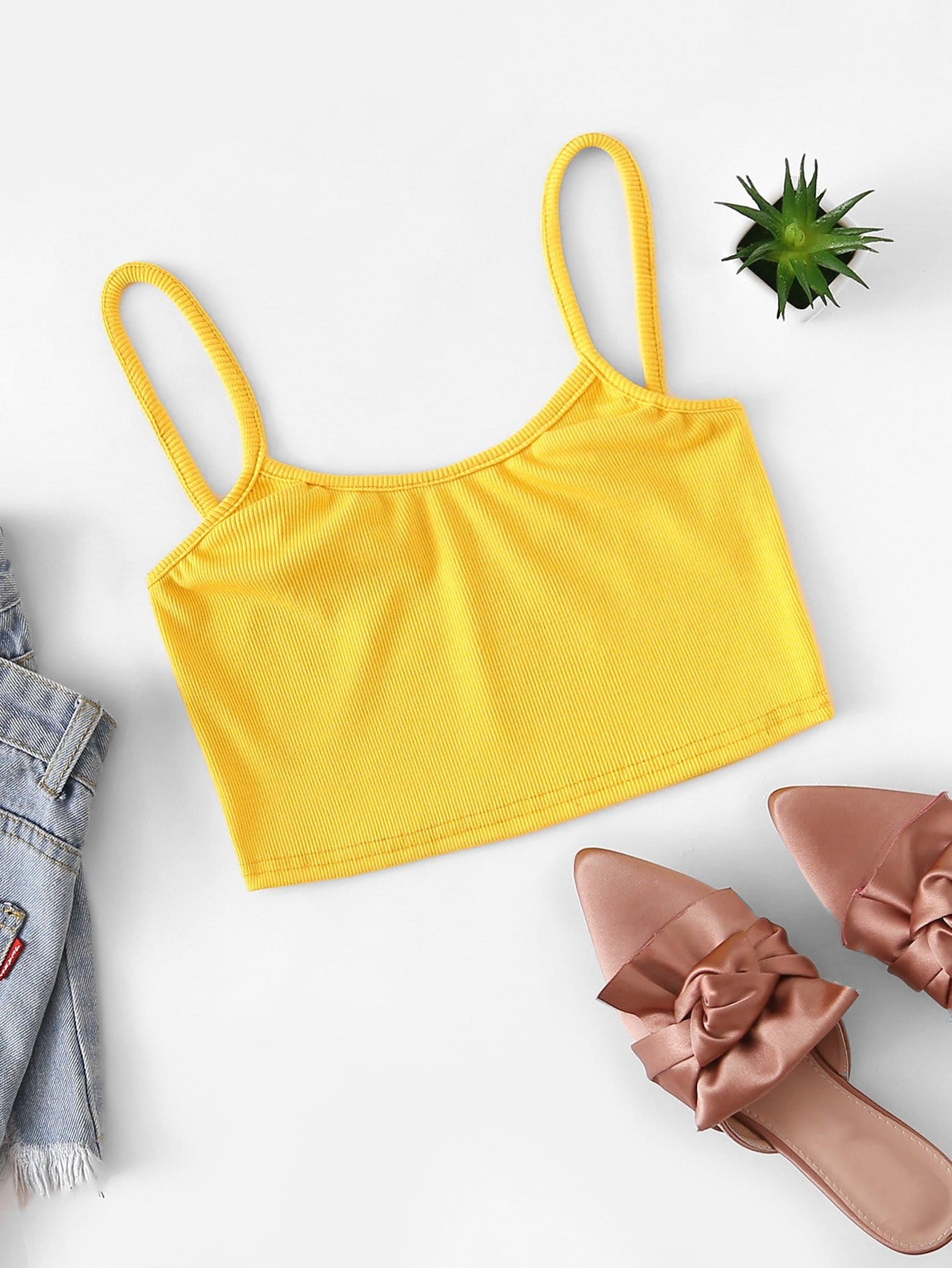 516dbc1bb50 Ribbed Crop Cami Top EmmaCloth-Women Fast Fashion Online