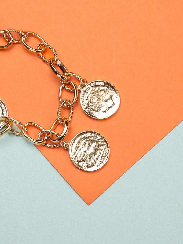 Layered Chain Link Coin Pendant Necklace