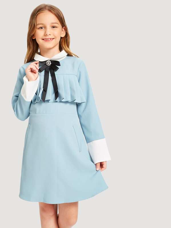 806d7c85ad8 Girls Zip Back Pleated Front Tunic Dress | SHEIN