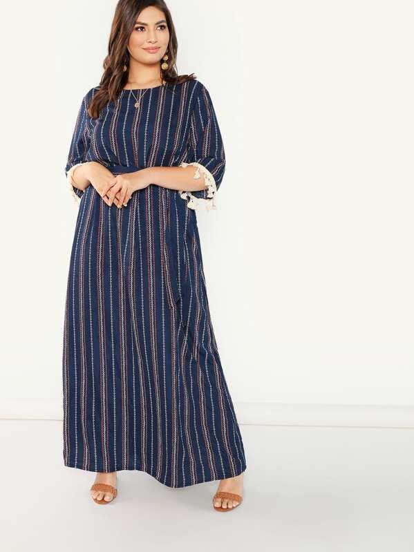 c903db33c9c Plus Tassel Applique Cuff Vertical Stripe Dress | SHEIN