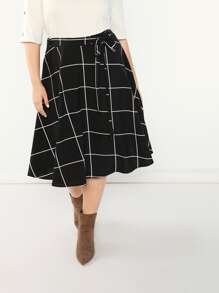 Plus Self Belted Plaid Flare Skirt