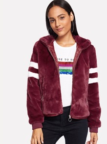 Zip Front Striped Hoodie Faux Fur Teddy Coat