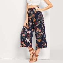 SHEIN   Drawstring Waist Straight Leg Floral Pants   Goxip