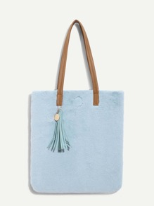 Tassel Decor Faux Fur Tote Bag