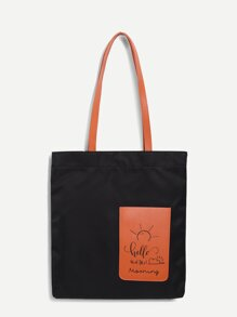 Pocket Decor Color-block Tote Bag