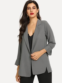 Open-Front Solid Blazer