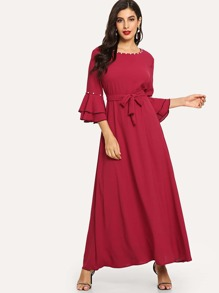 Bell Sleeve Tie Waist Longline Dress