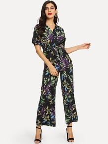 Botanical Surplice Wrap Tie Waist Jumpsuit
