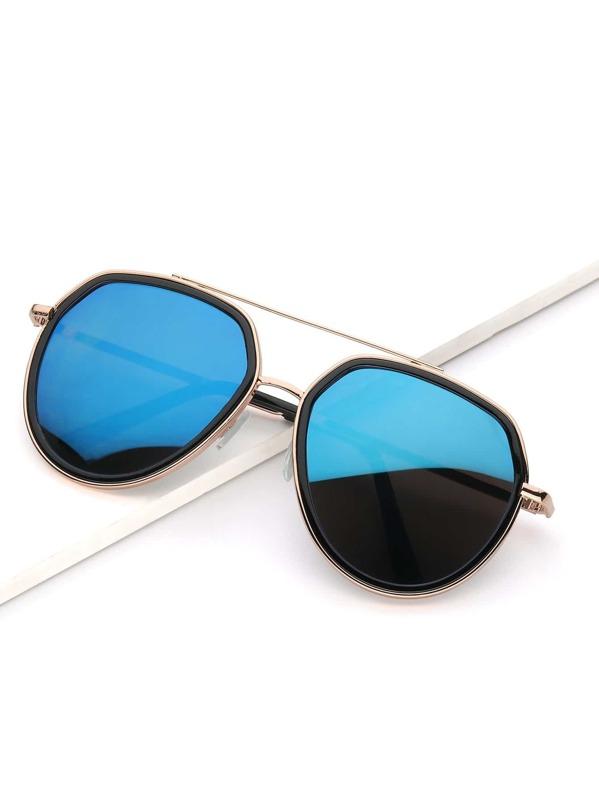 baf13396d9 Men Metal Frame Double Bridge Mirror Lens Sunglasses | SHEIN