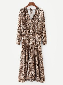 Leopard Print Surplice Neckline Dress