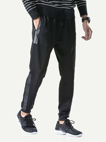 Men Zip Decoration Drawstring Waist Pant