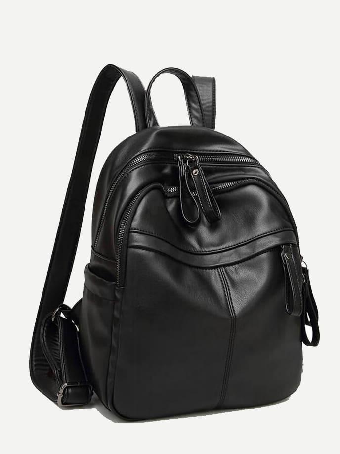 pu rucksack mit rei verschluss tasche vorn shein. Black Bedroom Furniture Sets. Home Design Ideas