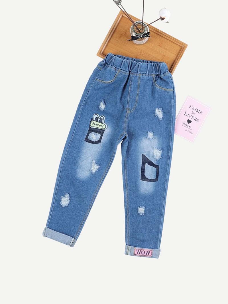 comprar online 03535 5a186 Vaqueros rotos de niñas con diseño bordado