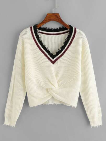 Contrast Trim Twist Hem Sweater