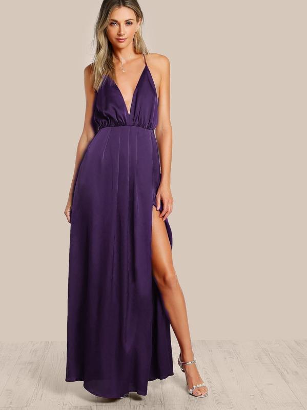 35dd07e558 Plunge Neck Crisscross Back High Slit Wrap Cami Dress | SHEIN