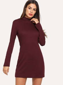 Stand Neck Solid Dress