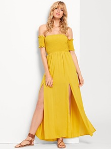 Off Shoulder Split Dress