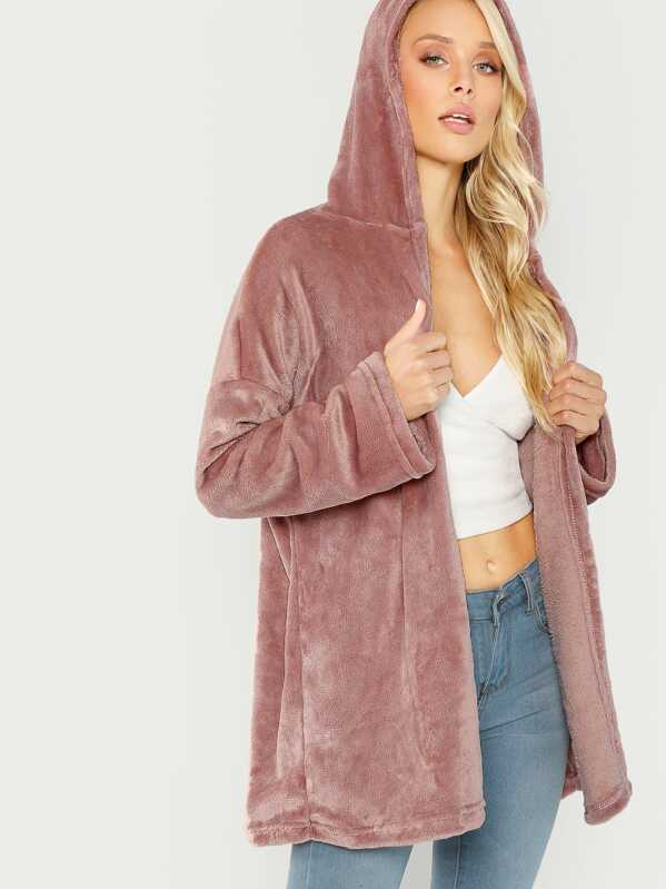 a34cc2abf4 Open Front Hooded Faux Fur Coat | SHEIN